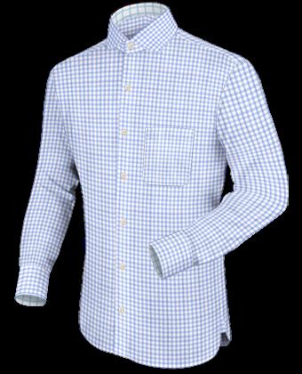 Donkerbruine Effen Bedrijfsoverhemden with Hidden Button