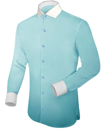 Effen Petrol Kleur Overhemd Heren with Italian Collar 1 Button