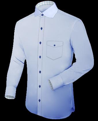 Fel Groen Overhemd with Italian Collar 2 Button
