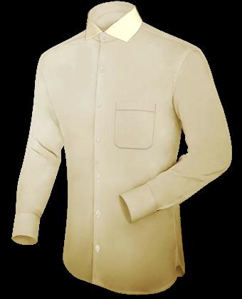 Geborduurde Overhemden with Italian Collar 1 Button