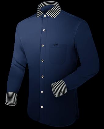 Grijs Groen Overhemd with Italian Collar 1 Button