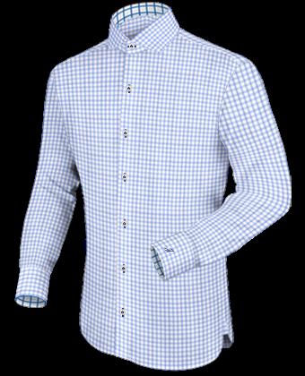 Aanbieding Geruite Blauwe Blouse Heren with Italian Collar 1 Button