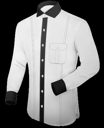 Beige Overhemd with Cut Away 1 Button